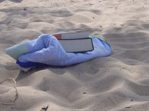 gone to the beach books towel by JotoLo02