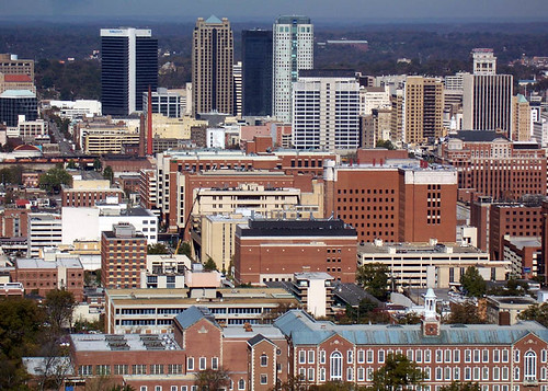 park street city urban building brick tower monument statue skyline modern skyscraper office al birmingham downtown view district south magic bama horizon alabama central center aerial historic business southern highrise cbd vulcan bhamref overlook overview density dense bhm bham midrise