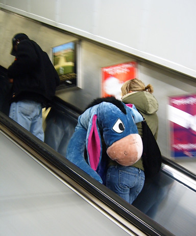 Eeyore on the Escalator by Annie Mole