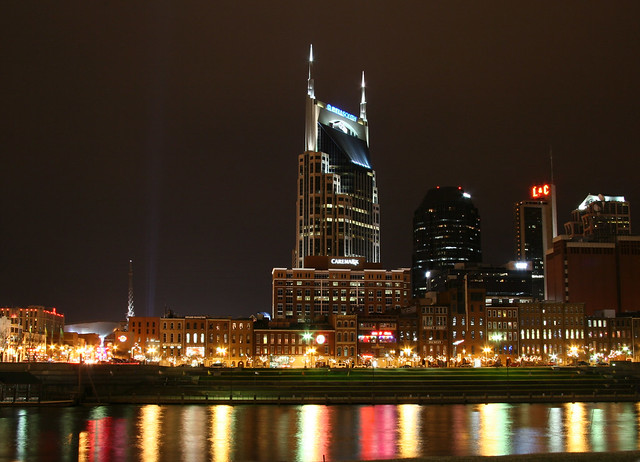 Nashville Bellsouth building at night