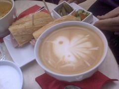 the bird in Mirabai's latte