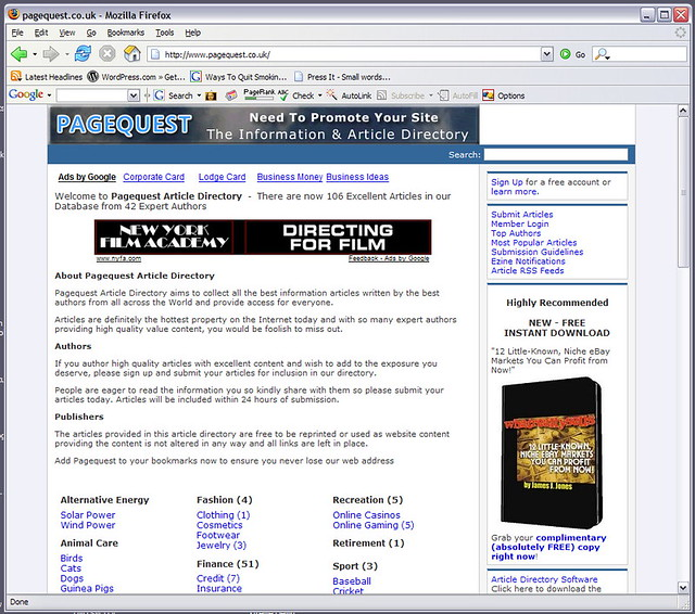 Article Marketing SEO pagequest.co.uk