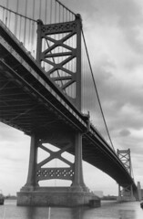 landmark, line, monochrome photography, overpass, monochrome, black-and-white, bridge, cable-stayed bridge,
