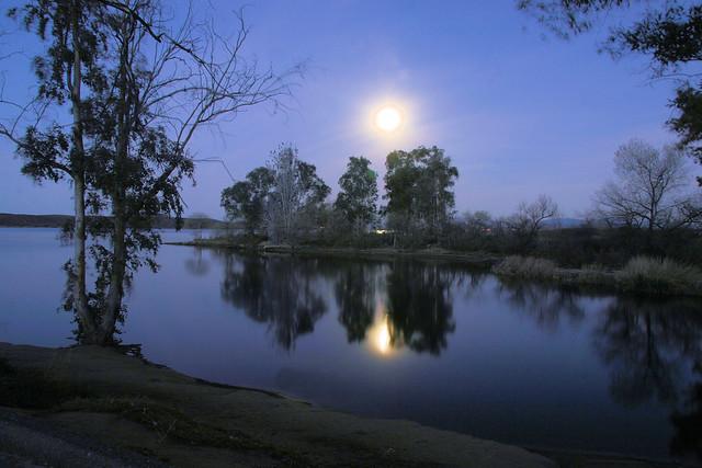 Full moon shines over lake skinner california a photo for Lake skinner fishing