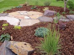 garden, soil, grass, yard, flagstone, mulch, landscaping, landscape, lawn, walkway,