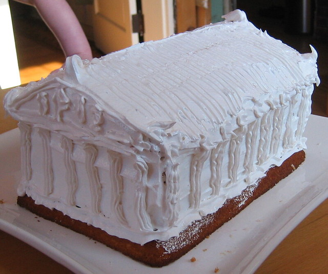 Greek Temple Cake Lemon Cake Seven Minute Frosting