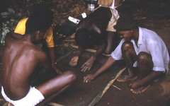 Archaeology team at Kamabai Rock Shelter, Sierra Leone (West Africa)