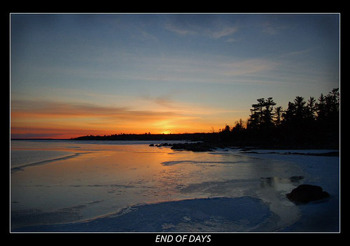 sunset snow ontario canada reflection ice water st river joseph island marys