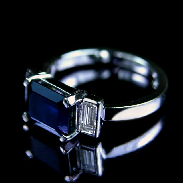 emerald cut sapphire engagement ring flickr photo