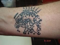 thai tradition tattoo elephant with 3 heads (Dejavu Tattoo Studio Chiangmai Thailand)