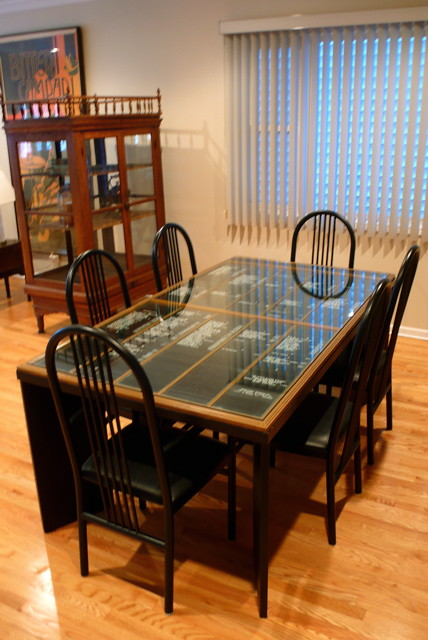 Dining room table repurposed from a sign directory for Repurposed dining table