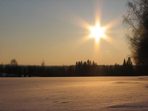 winter sun snow field evening penttilänmäki