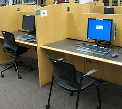 Public access computers in study carrels