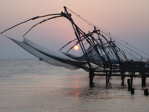 Sun caught up in Chinese Fishing Nets.