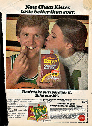 "Borden Cheez Kisses :: ""Now Cheez Kisses Taste Better Than Ever.""  - Save 10 ¢  (( 1978 ))"