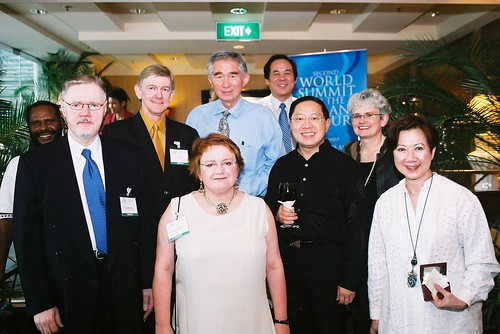Delegates from Papua New Guinea, Finland, Australia, England, Singapore and Viet nam at an informal gathering before the at the second World Summit on Arts & Culture, Singapore, November 2003