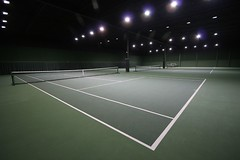 soccer-specific stadium(0.0), sport venue(1.0), tennis court(1.0), tennis(1.0), sports(1.0), net(1.0), racquet sport(1.0),