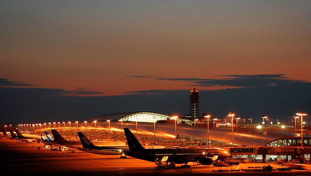 Kansai Airport after sunset