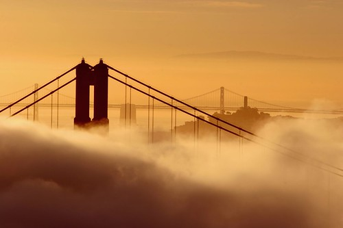 sf sanfrancisco california ca city morning bridge urban usa fog skyline america sunrise goldengatebridge goldengate coittower baybridge northamerica silhoutte questfortherest peopleschoice ggb splendiferous abigfave superaplus aplusphoto superbmasterpiece
