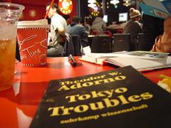 Reading Adorno at Virgin Mega Store Tokyo Shinjuku. October 2003