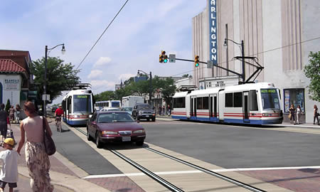 Rendering, streetcar service on Columbia Pike, Arlington and Fairfax Counties, Virginia