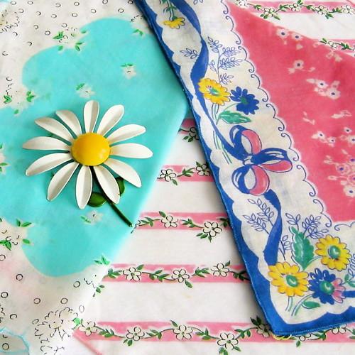 Vintage Daisy Handkerchiefs
