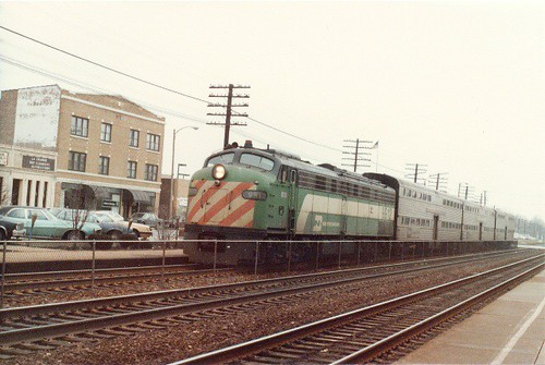 Burlington Northern commuter train approaching the La Grange Road commuter rail station. La Grange Illinois. February 1985. by Eddie from Chicago