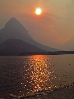 Sunset through smoke, Glacier National Park