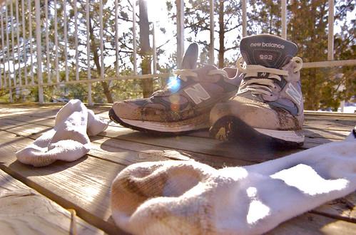 Trusty New Balance 992's / Soggy Gooseshit Socks