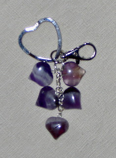 Amethyst Heart Keyring and Bag Charm