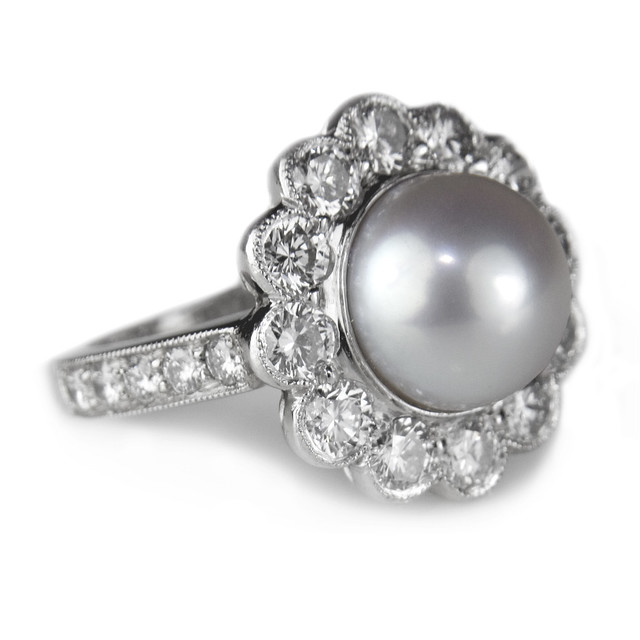 Pearl And Diamond Engagement Rings: Pearl And Diamond Engagement Ring