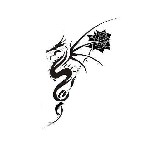 dragon rose tattoo design flickr photo sharing. Black Bedroom Furniture Sets. Home Design Ideas