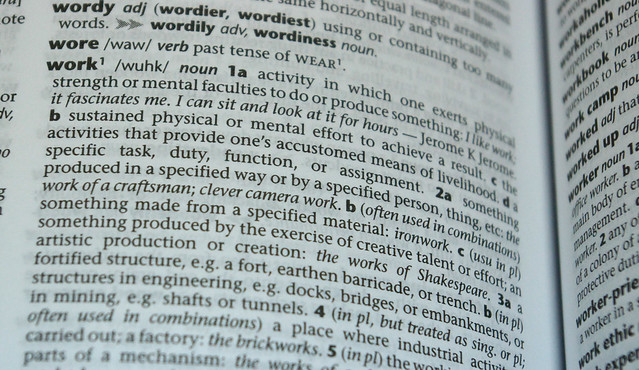 dictionary definition: work