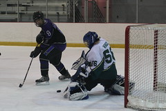 stick and ball games(0.0), roller hockey(0.0), roller in-line hockey(0.0), ball game(0.0), sports(1.0), team sport(1.0), ice hockey(1.0), hockey(1.0), player(1.0), goaltender(1.0), defenseman(1.0), ice hockey position(1.0), college ice hockey(1.0), athlete(1.0),