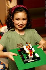aidan and a legomobile she made    MG 1615
