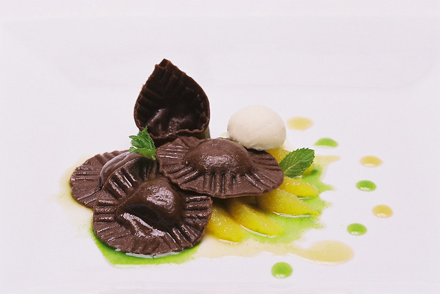 Chocolate Ravioli with White Bean Ice Cream2 | Flickr - Photo Sharing!