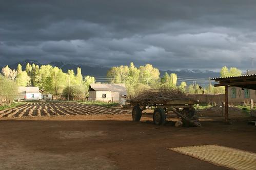 sunset clouds landscape kyrgyzstan greysky