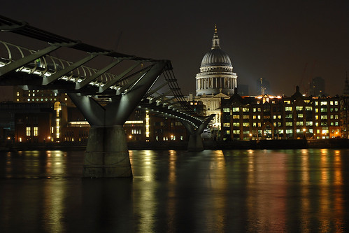 St Paul and Millenium Bridge in London
