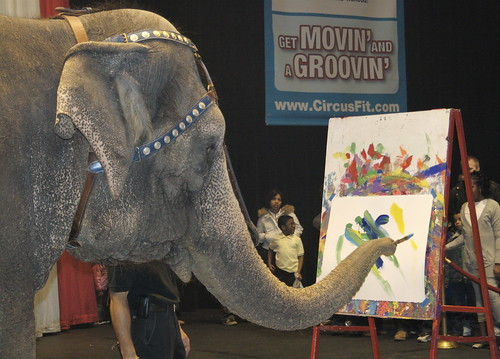 An Elephant Paints