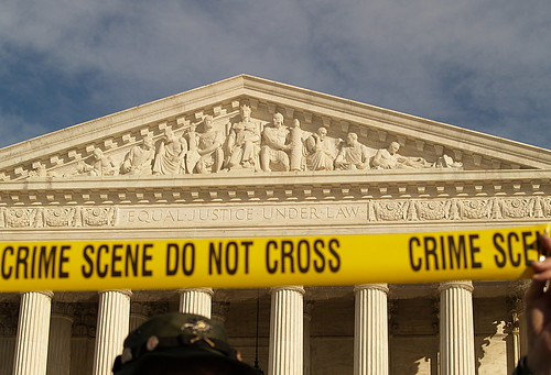 """Crime Scene, Do Not Cross"" Tape At The United States Supreme Court During The January 27, 2007 March On Washington (Washington, DC)"