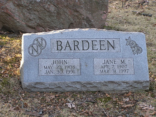 Grave Marker at Forest Hill Cemetery for Nobel Prize-Winner John Bardeen and his wife, Jane