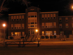 Old White Pine High School at Night, Ely, Nevada