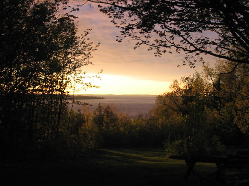 trees sunset camp ontario canada water sturgeonbay neekaunis