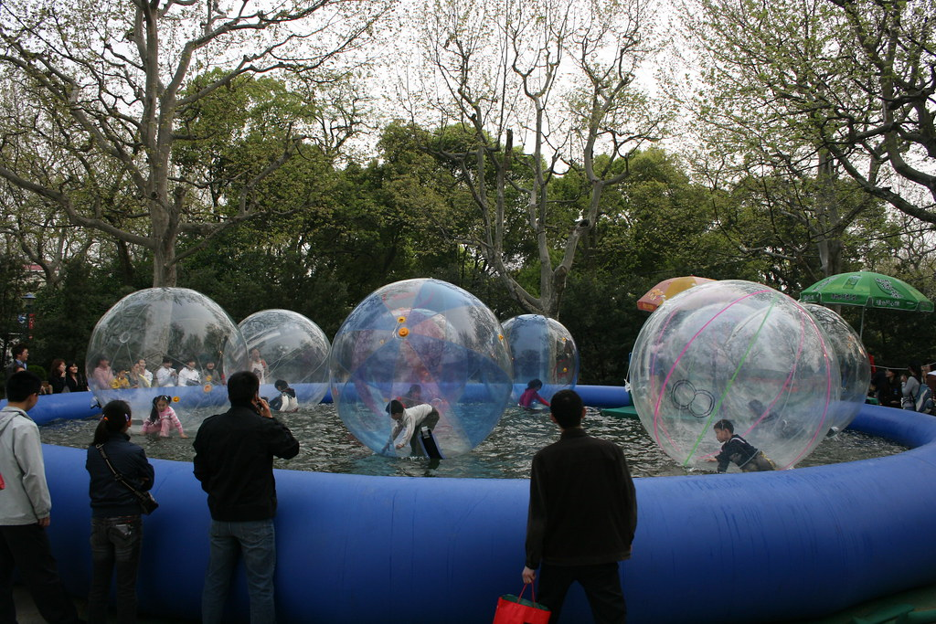 Water Balls in Giant Inflatable Pool