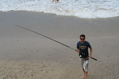 beach, sand, fishing, sea, casting fishing, surf fishing, mudflat, wave, shore, coast,
