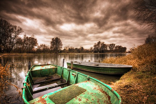 green rowboat