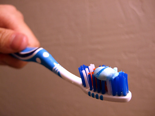 Toothpaste on toothbrush.