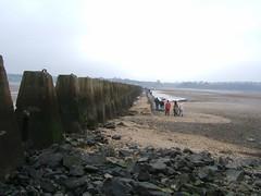 Returning along the causeway