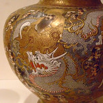 Jar with Dragons and Religious Personages Satsuma stoneware with signature of Fusan (1)