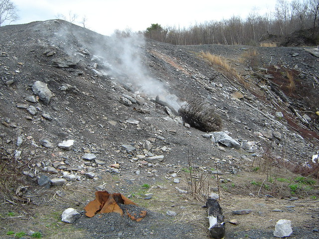 More steam coming out of a hillside